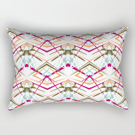 Abstract geometric colorful pattern on white background . Rectangular Pillow