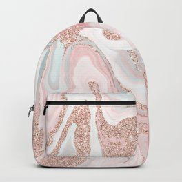 Modern rose gold glitter coral gray pastel marble marbling effect pattern Backpack