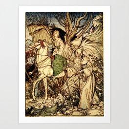 Arthur Rackham - Fouqué - Undine (1909) - I am here with Thee as a Guide Art Print