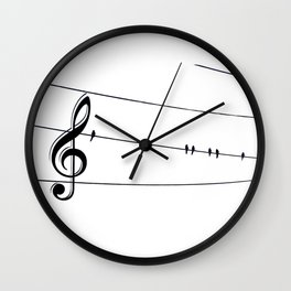 Natures Choir Birds on Wire Music Note A611W Wall Clock