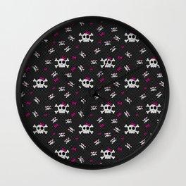 Gothic Girly Skulls Wall Clock