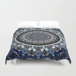 Dark Blue Grey Mandala Design Duvet Cover