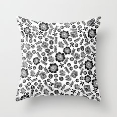 Linocut florals pattern minimal black and white home decor college dorm bohemian printmaking Throw Pillow