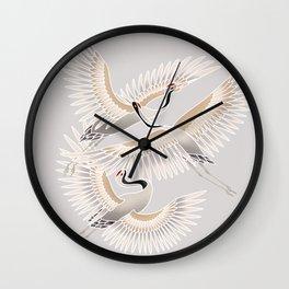traditional Japanese cranes bright illustration Wall Clock