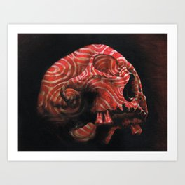 Skull with Red Art Print