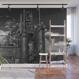 Black and White Bethlehem Steel Blast Furnaces Wall Mural
