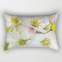 Close-up of Apple tree flowers on a vivid green background - Summer atmosphere Rectangular Pillow