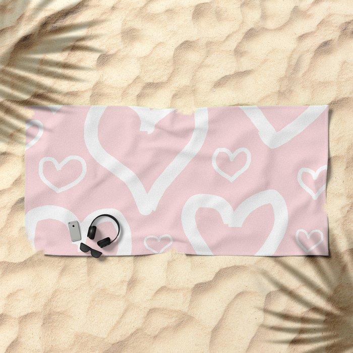 Millennial Pink Pastel Hearts Beach Towel