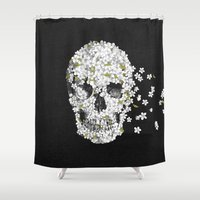 death Shower Curtains featuring A Beautiful Death - mono by Terry Fan