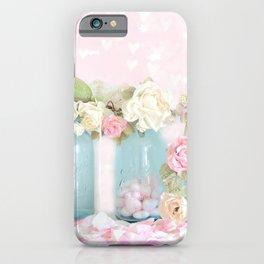Shabby Chic Aqua Pink Roses Mason Jars iPhone Case