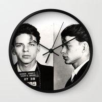 frank sinatra Wall Clocks featuring Frank Sinatra Mug Shot  by All Surfaces Design
