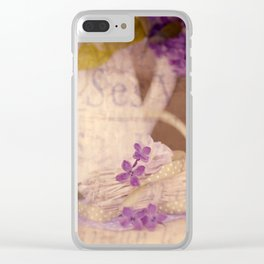 Nostalgic Lilac flower Vintage style Clear iPhone Case