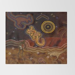 Desert Heat - Australian Aboriginal Art Theme Throw Blanket