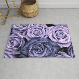 PURPLE ROSES floral flowers violet Rug