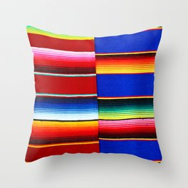 Colorful serape stripes Throw Pillow