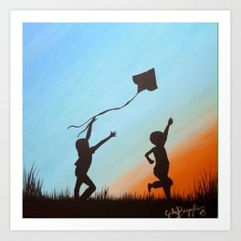 children shadows Art Print