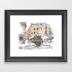 Fountain at Cours Mirabeau, Aix-en-Provence Framed Art Print