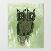 owls Canvas Prints featuring Owls by Amanda James