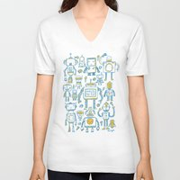 robots V-neck T-shirts featuring Robots by Peter Clayton