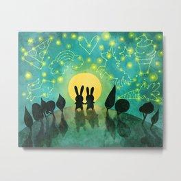 Bunny Constellation Gazing Metal Print