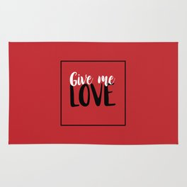 Give Me Love Red Square Rug