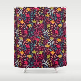 Autumn seamless pattern with floral decorative elements, colorful design Shower Curtain
