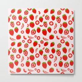Strawberry milk kawaii Metal Print
