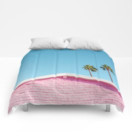 Pink House Roofline with Palm Trees (Palm Springs) Comforters