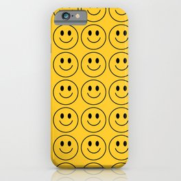 Smiley Face Pattern - Super Yellow Variant iPhone Case