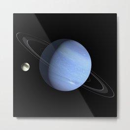 Neptune Planet and Titan Moon Ultra Realistic Metal Print