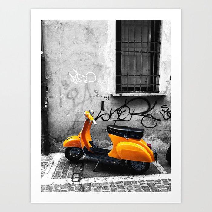 Orange Vespa in Bologna Black and White Photography Art Print