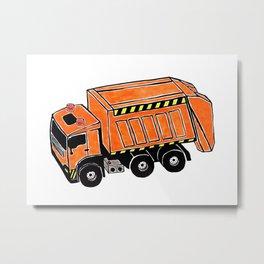 Orange Garbage Truck Metal Print