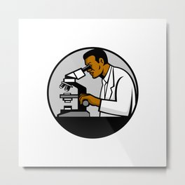 African American Research Scientist Mascot Metal Print