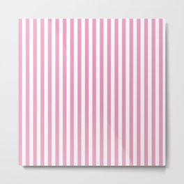 Small Vertical Light Pink Stripes Metal Print