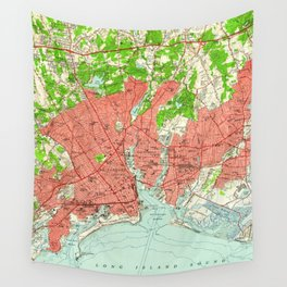 Vintage Map of Bridgeport Connecticut (1951) Wall Tapestry