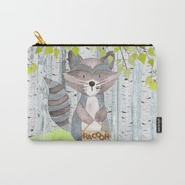 The adorable Racoon- Woodland Friends- Watercolor Illustration Carry-All Pouch