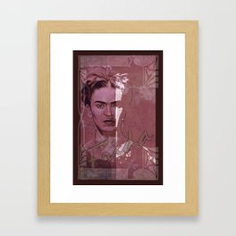 Frida Kahlo - between worlds - red Framed Art Print