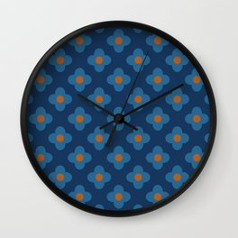 60s Floral Pattern Navy Blue Wall Clock