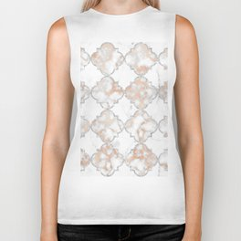 Silver and Rose Gold Marble Arabesque Biker Tank