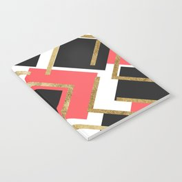 Chic Coral Pink Black and Gold Square Geometric Notebook