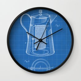 Coffee Percolator Patent - Coffee Shop Art - Blueprint Wall Clock