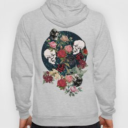Distressed Floral with Skulls Pattern Hoody