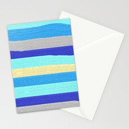 Ocean Blue Painter's Stripes Stationery Cards