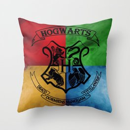 Wizard School House Crest HP Throw Pillow