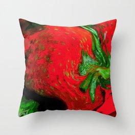 Strawberry Fruit Art Deco Throw Pillow