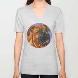 Finnly the Bull Mastiff Dog Portrait Unisex V-Neck