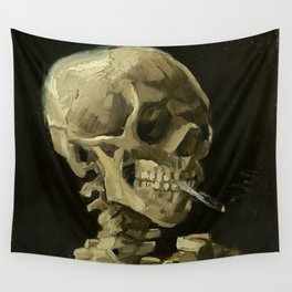 SKULL OF A SKELETON WITH BURNING CIGARETTE - VINCENT VAN GOGH Wall Tapestry