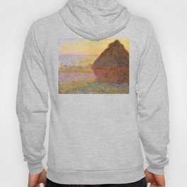 Haystacks, (Sunset) by Claude Monet Hoody