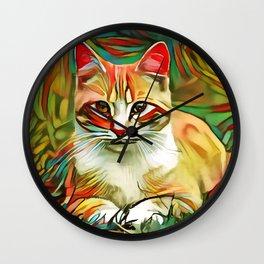 Cat in grass Wall Clock