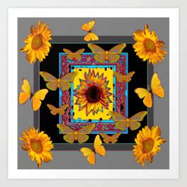 WESTERN BLACK & GREY BUTTERFLIES SUNFLOWERS Art Print